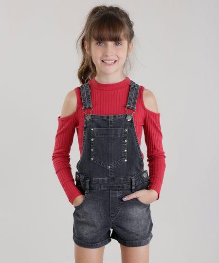 Jardineira jeans com tachas preta cea for Jardineira jeans c a