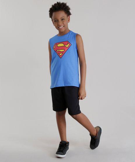 Conjunto-Super-Homem-de-Regata-Azul---Bermuda-em-Moletom-Preta-8484311-Preto_1