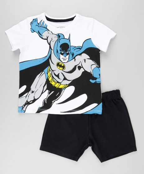 Conjunto-Batman-de-Camiseta-Branca---Bermuda-em-Moletom-Preta-8664331-Preto_1