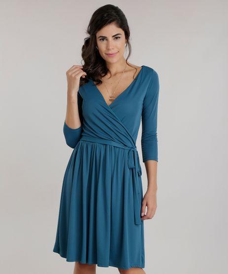 Vestido-Transpassado-com-Faixa-Verde-Escuro-8619419-Verde_Escuro_1