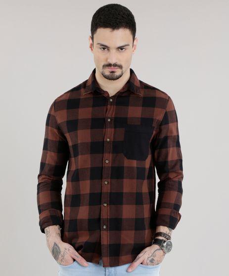 Camisa-Xadrez-em-Flanela-Marrom-8623406-Marrom_1