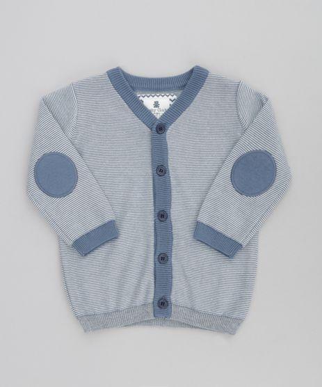 Cardigan-em-Trico-Listrado-em-Algodao---Sustentavel-Azul-8502074-Azul_1