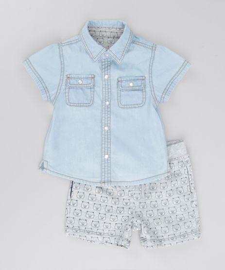 Conjunto-de-Camisa-Jeans---Bermuda-em-Moletom-Estampada-Cinza-Mescla-8502241-Cinza_Mescla_1