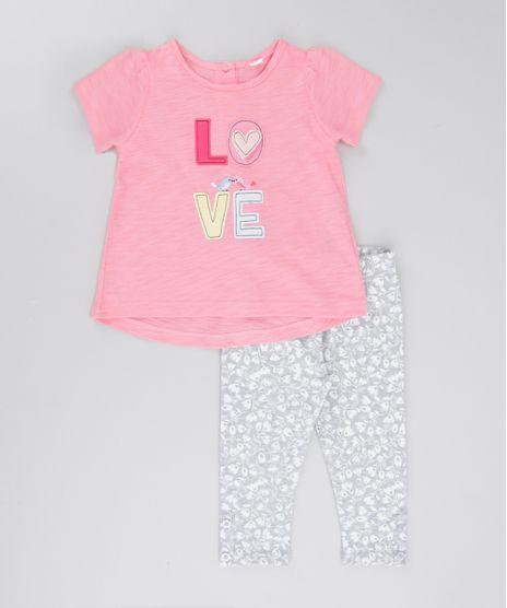 Conjunto-de-Blusa-Rosa---Calca-Legging-Estampada-Floral-Cinza-Mescla-8501988-Cinza_Mescla_1