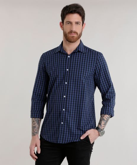 Camisa-Comfort-Xadrez-em-Algodao---Sustentavel-Azul-Marinho-8302565-Azul_Marinho_1