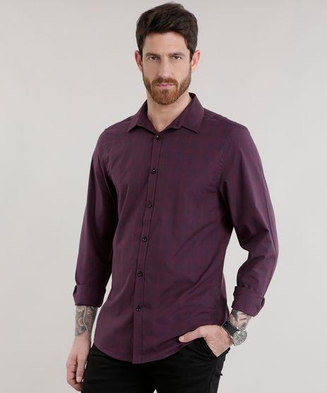 Camisa-Slim-Estampada-em-Algodao---Sustentavel-Vinho-8587030-Vinho_1