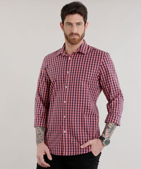 Camisa-Comfort-Xadrez-em-Algodao---Sustentavel-Coral-8302558-Coral_1