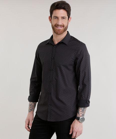 Camisa-Slim-Estampada-em-Algodao---Sustentavel-Preta-8588138-Preto_1