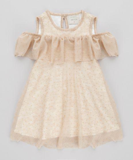 Vestido-Open-Shoulder-Estampado-de-Poa-Dourado-8706587-Dourado_1