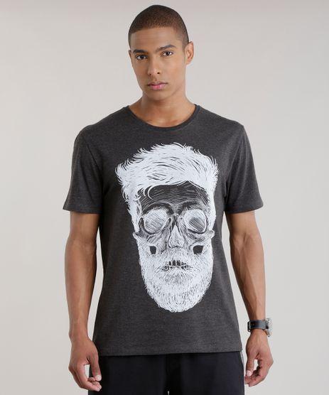 Camiseta--Caveira--Cinza-Mescla-Escuro-8644252-Cinza_Mescla_Escuro_1