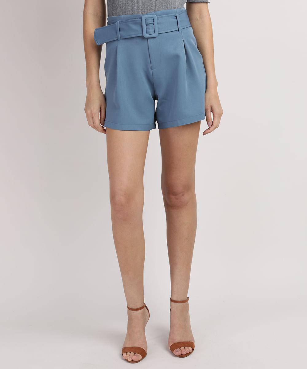 CeA Short Feminino Reto Cintura Alta com Cinto Azul