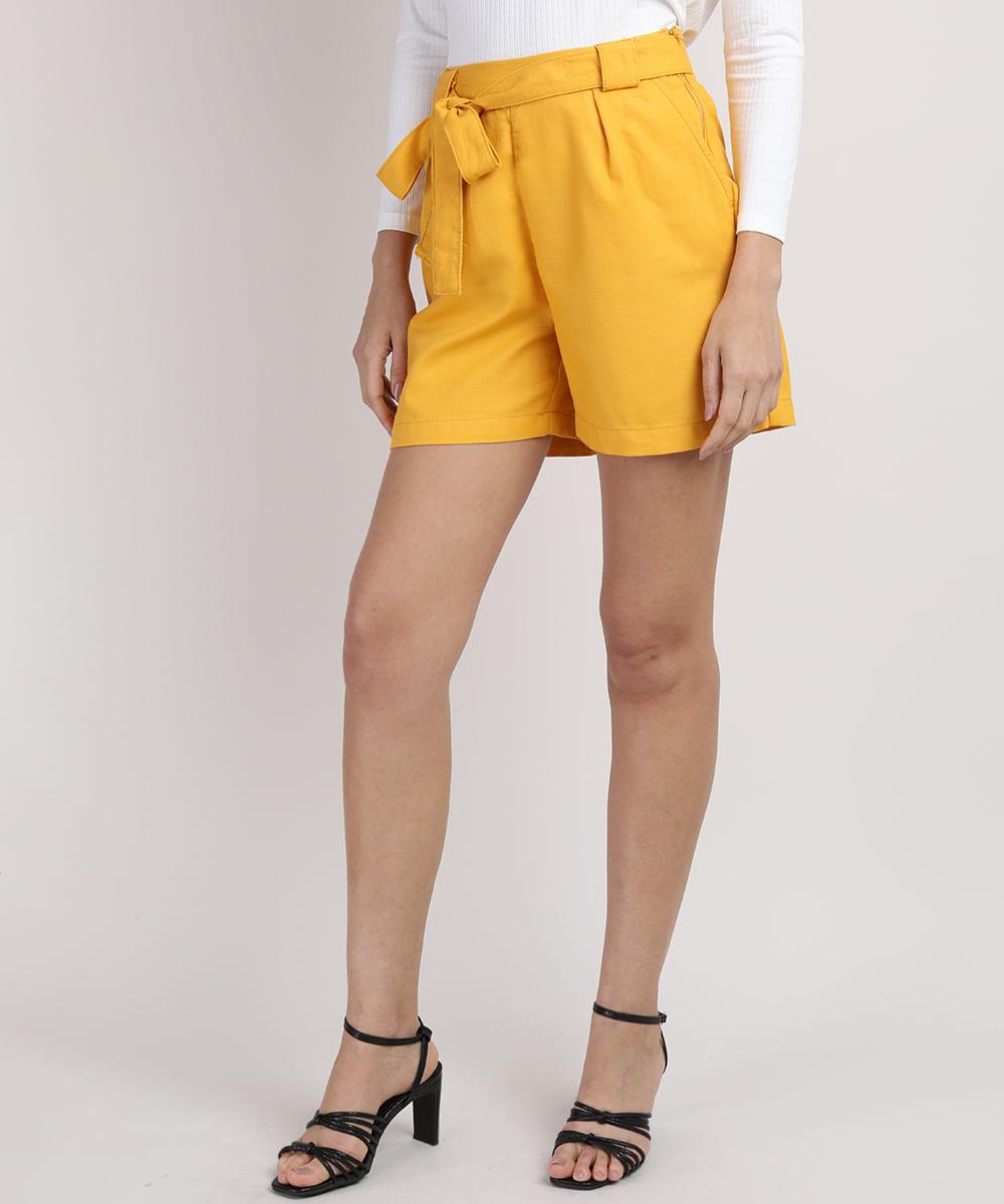 CeA Short Feminino Cintura Alta com Faixa para Amarrar Amarelo