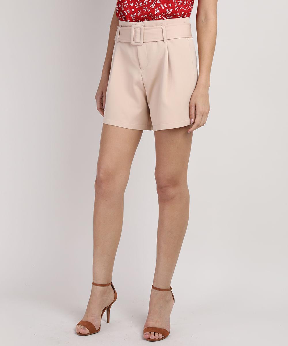 CeA Short Feminino Reto Cintura Alta com Cinto Rosa Claro