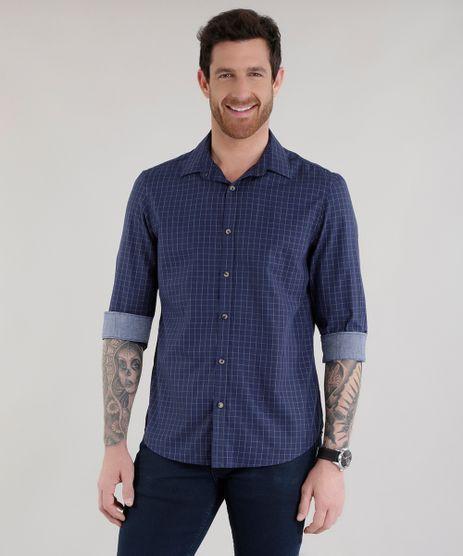Camisa-Comfort-Xadrez-em-Algodao---Sustentavel-Azul-Marinho-8585444-Azul_Marinho_1