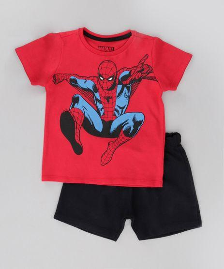 Conjunto-de-Camiseta-Vermelha---Bermuda-Homem-Aranha-Preta-8612495-Preto_1