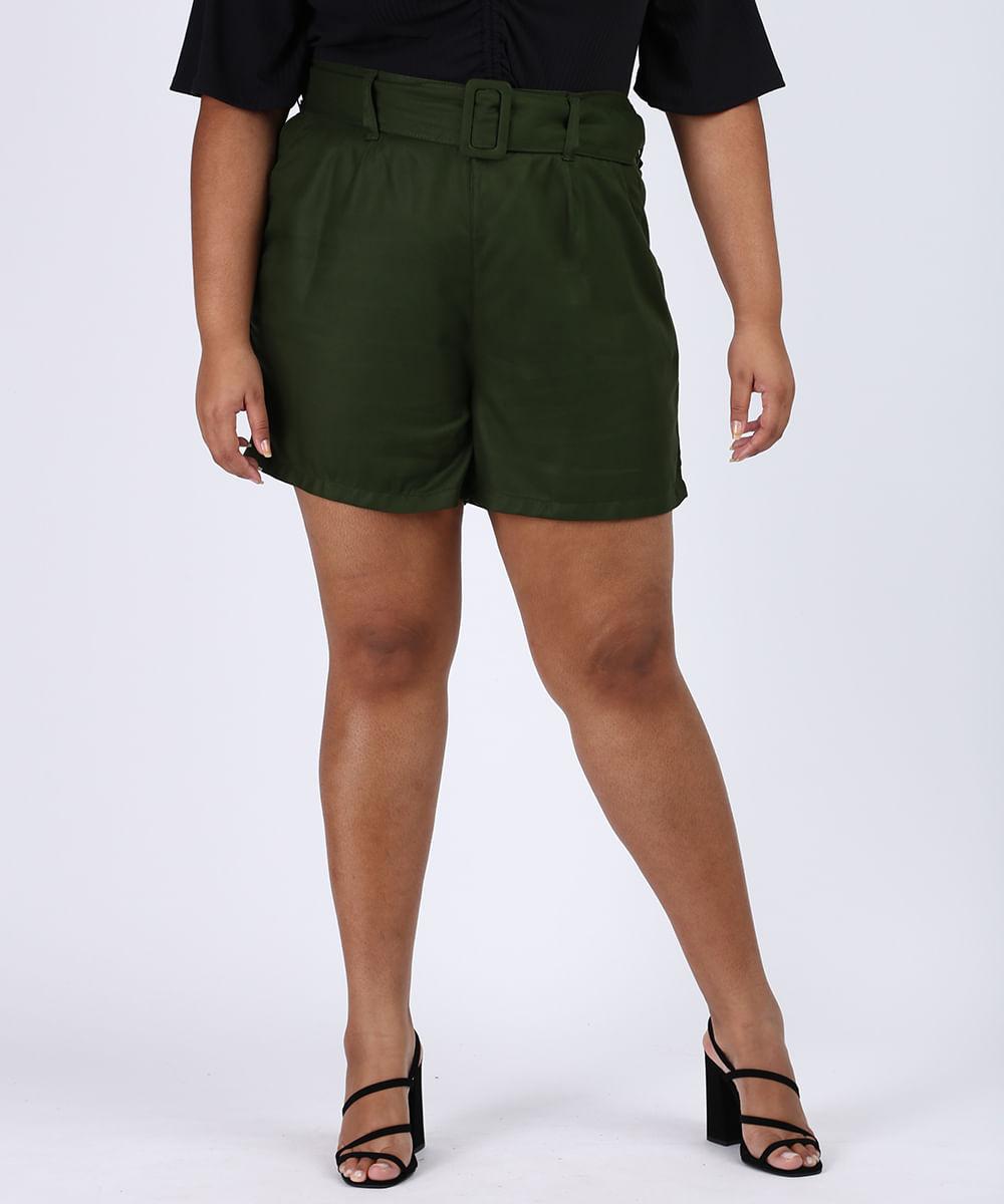 CeA Bermuda Feminina Plus Size Cintura Alta Alfaiatada com Cinto Verde Militar