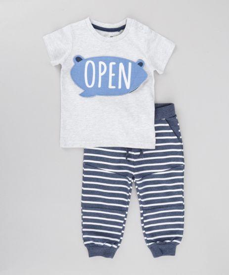 Conjunto-de-Camiseta--Open--Cinza-Mescla---Calca-Listrada-em-Moletom-de-Algodao---Sustentavel-Azul-Marinho-8502248-Azul_Marinho_1