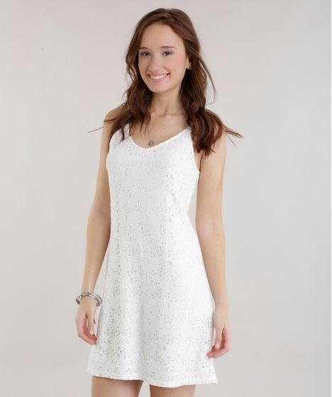 Vestido em renda off white