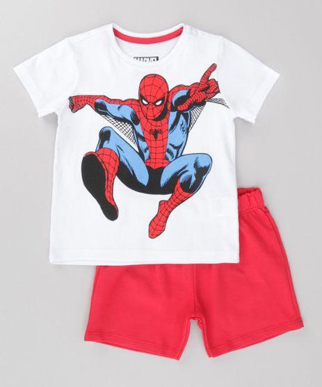 Conjunto-de-Camiseta-Homem-Aranha-Branca---Bermuda-em-Moletom-Vermelho-8735267-Vermelho_1