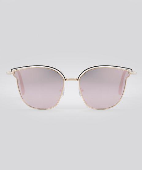 Oculos-de-Sol-Redondo-Espelhado-Feminino-Oneself-Dourado-8759539-Dourado_1