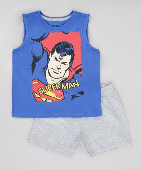 Conjunto-Super-Homem-de-Regata-Azul-Royal---Bermuda-em-Moletom-Cinza-Mescla-8702526-Cinza_Mescla_1