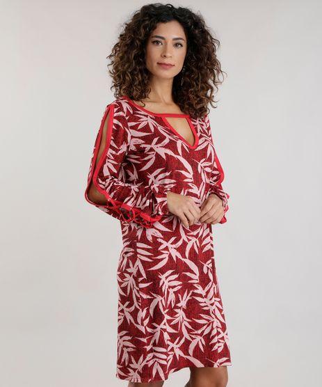 Vestido-Estampado-de-Folhagem-com-Recortes-Vermelho-8715812-Vermelho_1
