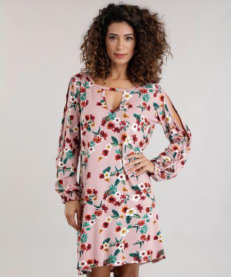 Vestido-Estampado-Floral-com-Recortes-Rose-8715818-Rose_1