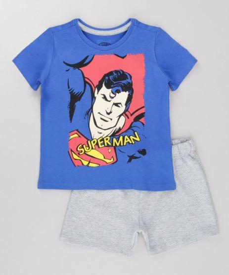 Conjunto-Super-Homem-de-Camiseta-Azul-Royal---Bermuda-em-Moletom-Cinza-Mescla-8702532-Cinza_Mescla_1