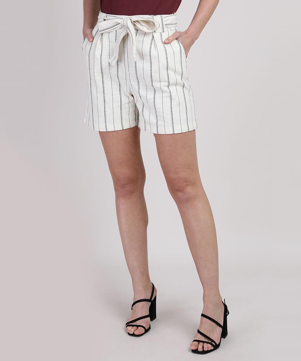 CeA Short Feminino Cintura Alta Alfaiatado Listrado com Faixa para Amarração Off White
