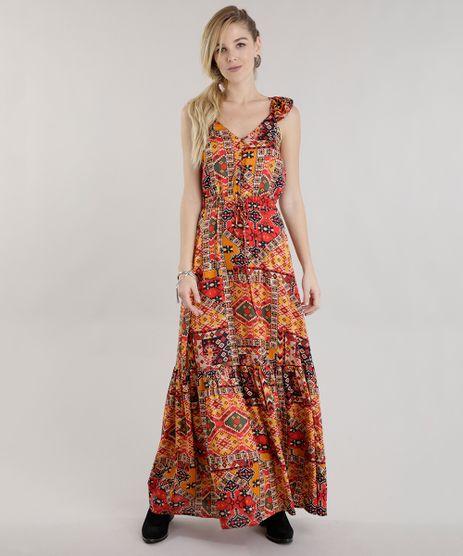 Vestido-Longo-Estampado-Etnico-Amarelo-Escuro-8611180-Amarelo_Escuro_1