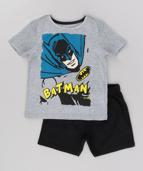 Conjunto-Batman-de-Camiseta-Cinza-Mescla---Bermuda-em-Moletom-Preta-8702544-Preto_1