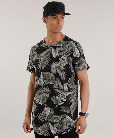 Camiseta-Longa-Estampada-de-Folhagem-Preta-8703736-Preto_1
