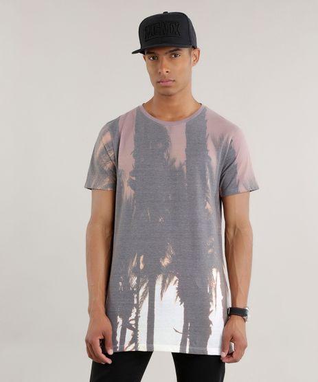 Camiseta-Longa-Estampada-de-Coqueiros-Marrom-8705281-Marrom_1