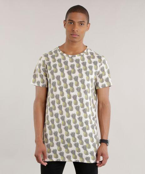 Camiseta-Longa-Estampada-de-Abacaxis-Amarelo-Claro-8705288-Amarelo_Claro_1