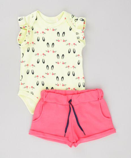 Conjunto-de-Body-Estampado-de-Coelhinhos-Amarelo---Short-em-Moletom-Rosa-Escuro-8688947-Rosa_Escuro_1