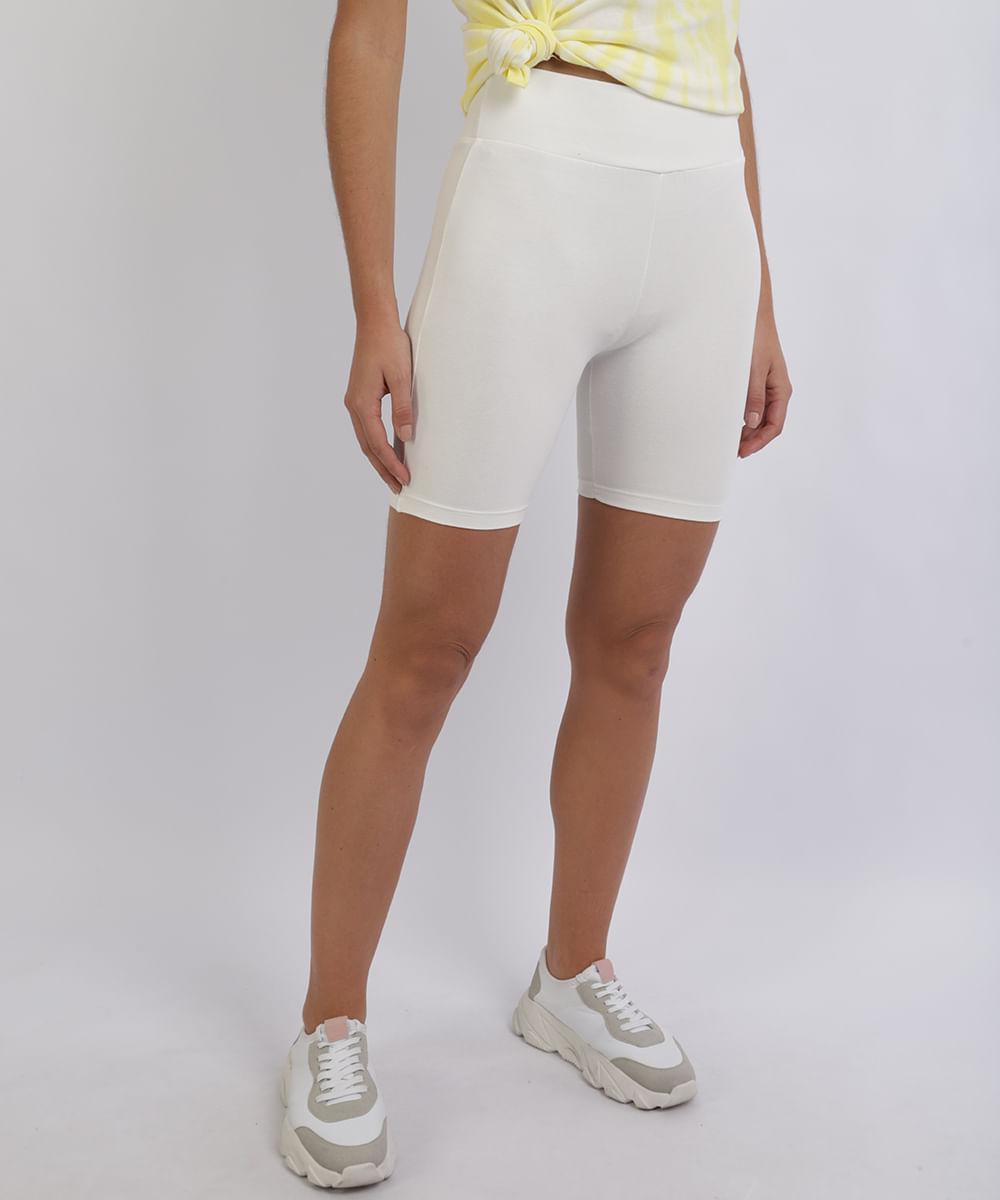 CeA Bermuda Feminina Básica Ciclista Branca