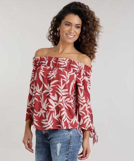 Blusa-Ombro-a-Ombro-Estampada-de-Folhagem-Vermelha-8704340-Vermelho_1