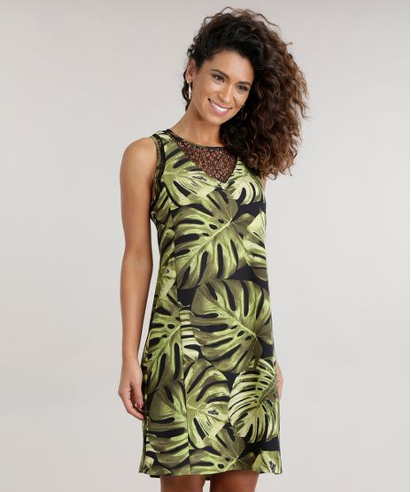 Vestido-Estampado-de-Folhagem-com-Renda-Preto-8592214-Preto_1