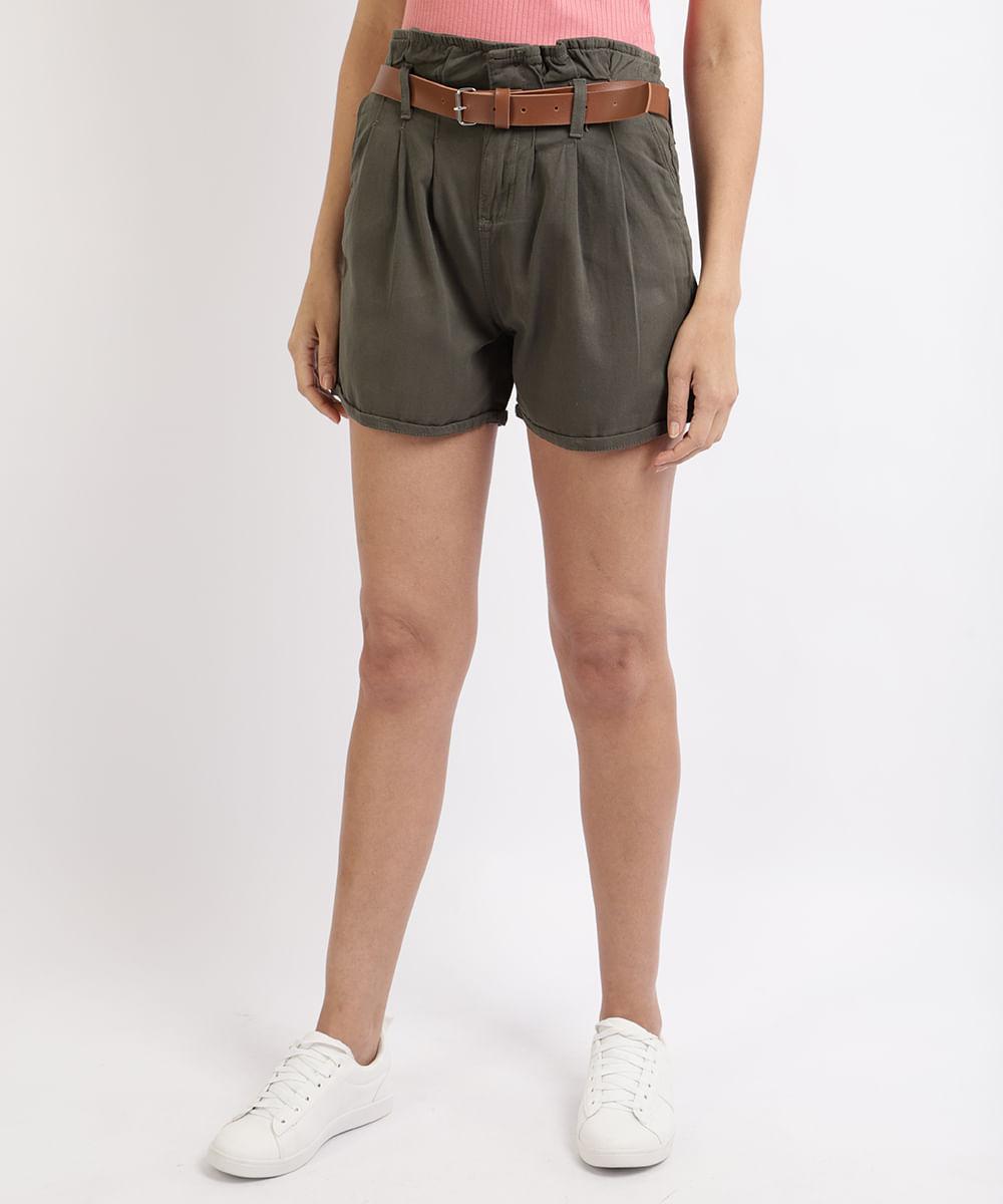 CeA Short de Sarja Feminino Clochard Cintura Super Alta com Cinto Verde Militar