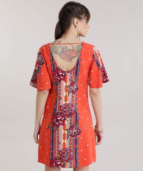 Vestido estampado de laranja