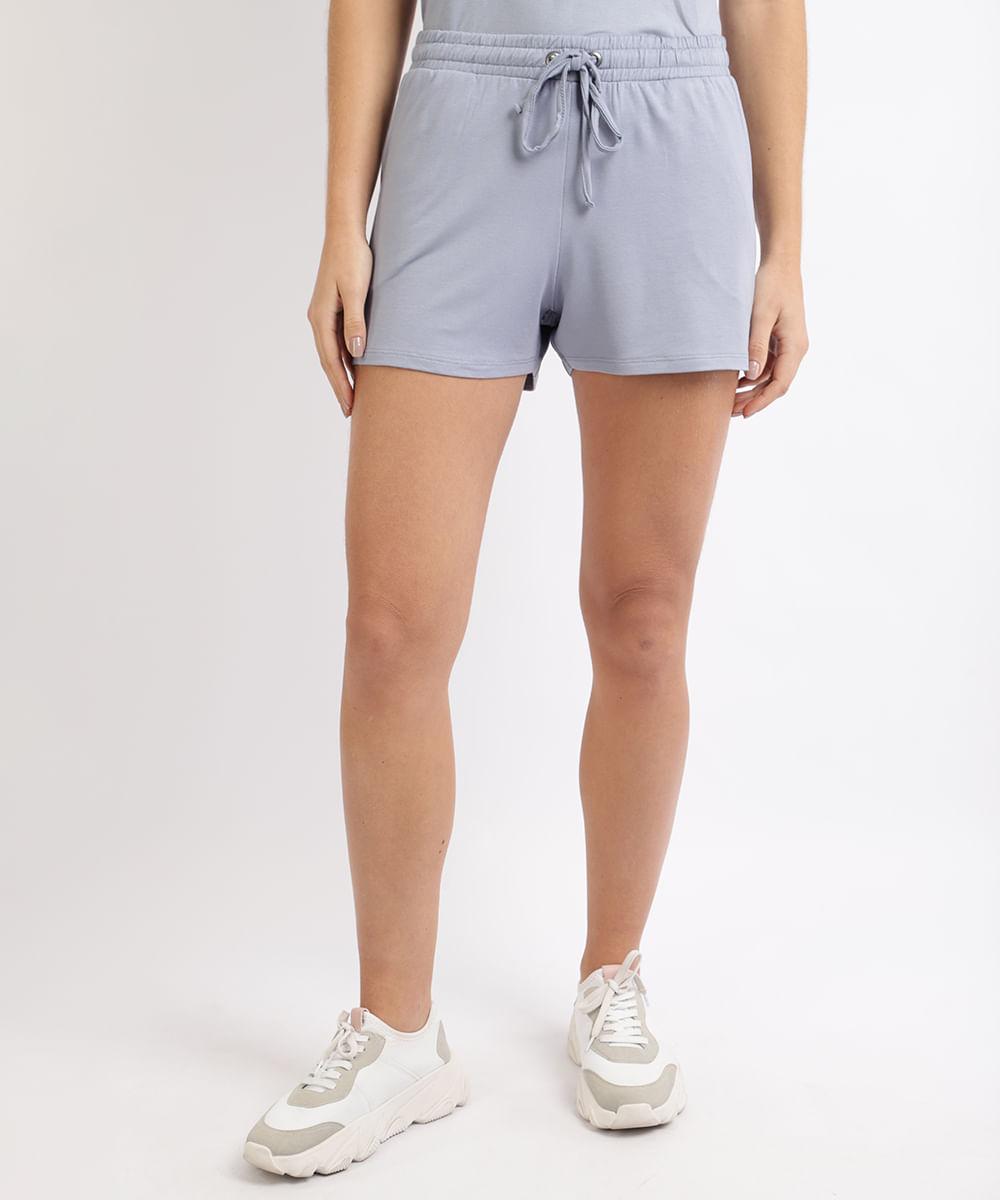 CeA Short Feminino Básico Cintura Alta com Bolsos e Cadarço Azul