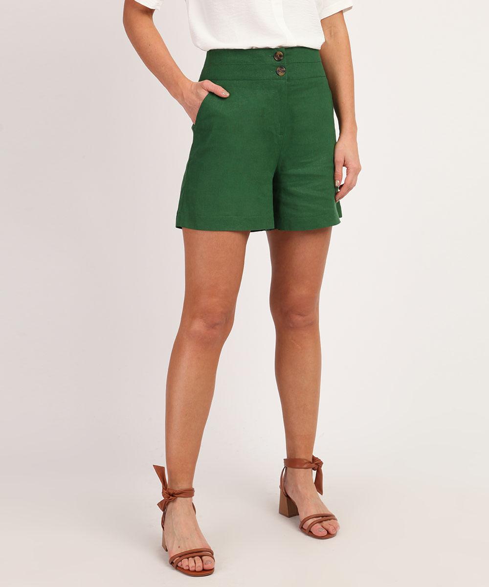 CeA Short Feminino em Linho Cintura Alta com Botões e Bolsos Verde