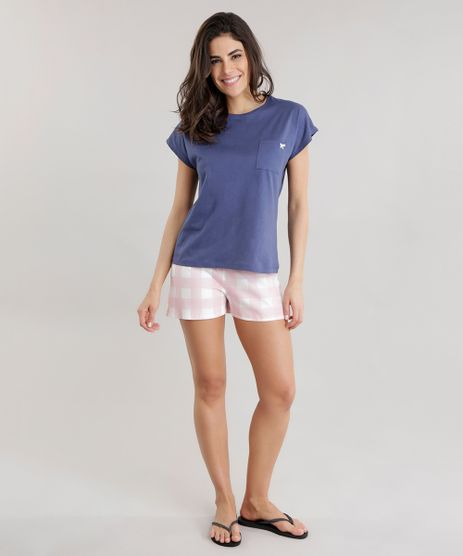 Pijama-com-Estampa-Xadrez-Azul-Marinho-8698763-Azul_Marinho_1