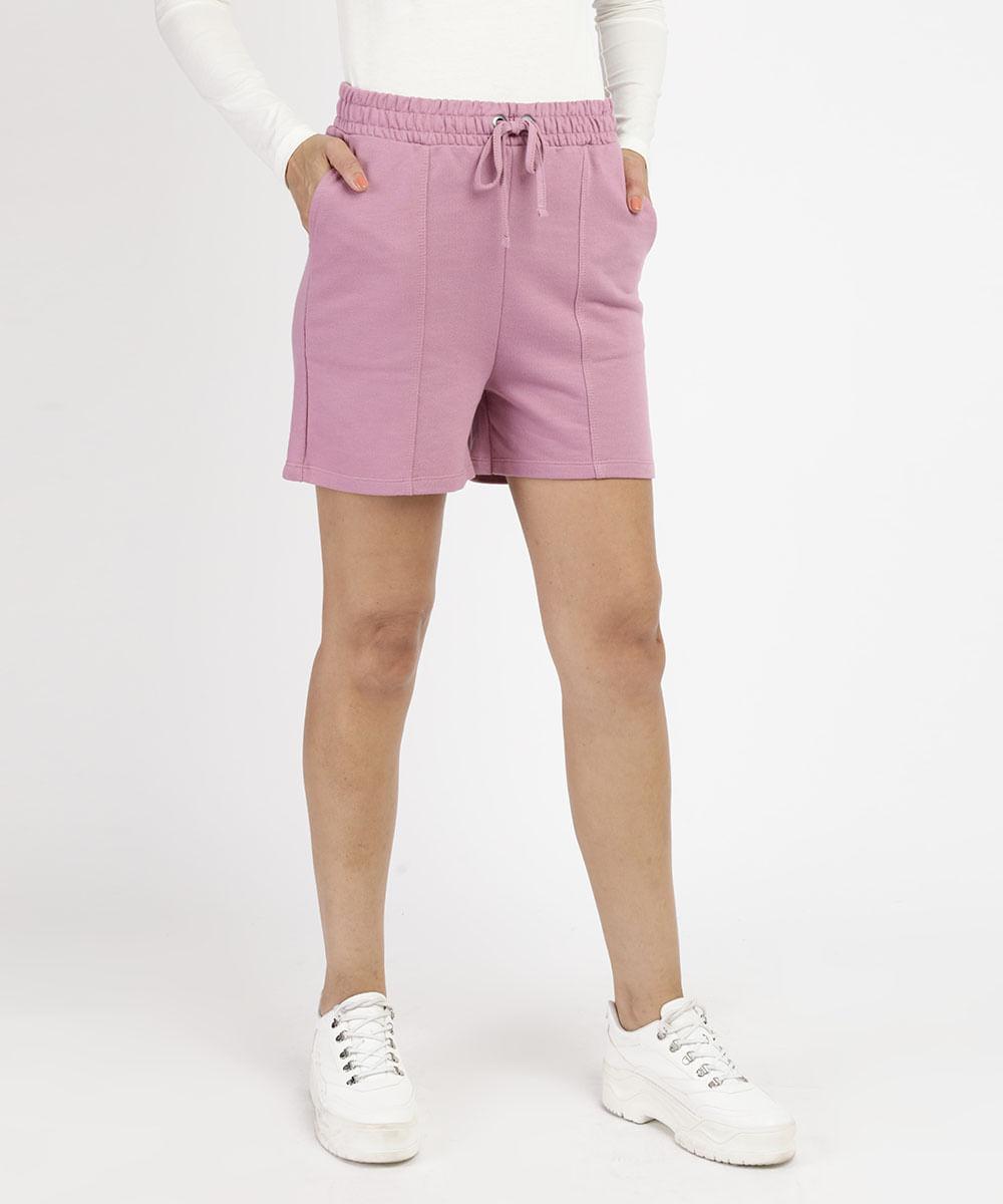 CeA Bermuda de Moletom Feminino com Bolso Cintura Alta Rosa