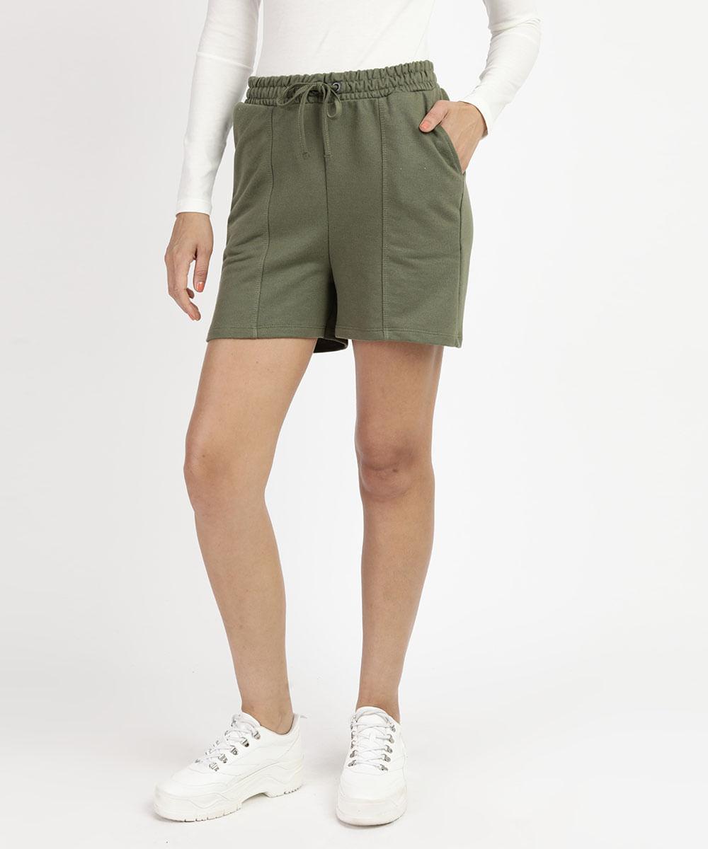 CeA Bermuda de Moletom Feminino com Bolso Cintura Alta Verde