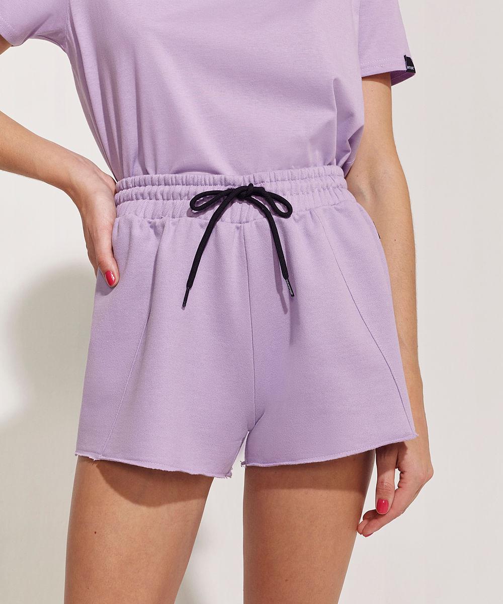 CeA Short de Moletom Feminino Pantone Cintura Alta com Recortes e Cós com Elástico Lilás