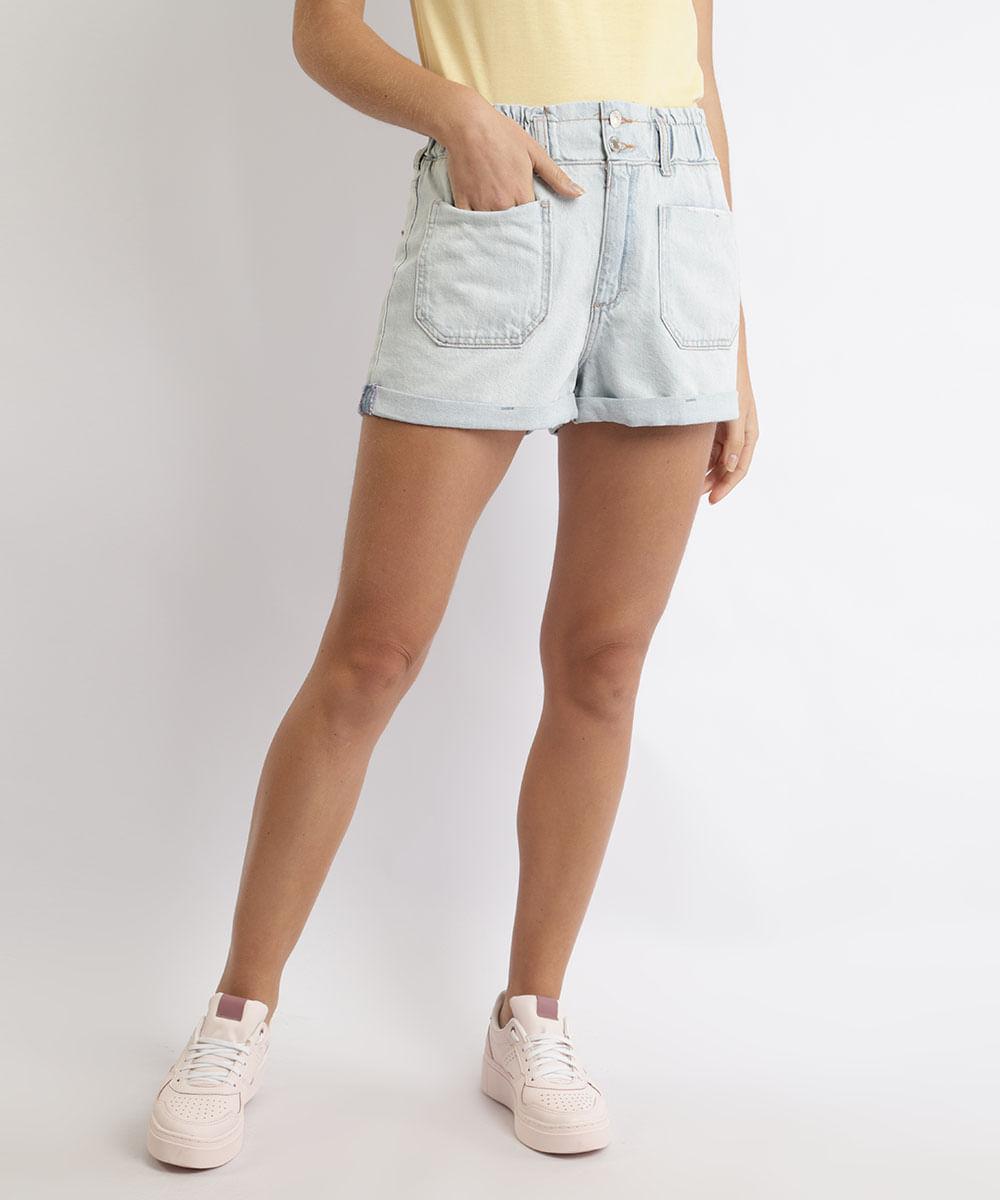 CeA Short Jeans Feminino Mom Cintura Super Alta Barra Dobrada Azul Claro