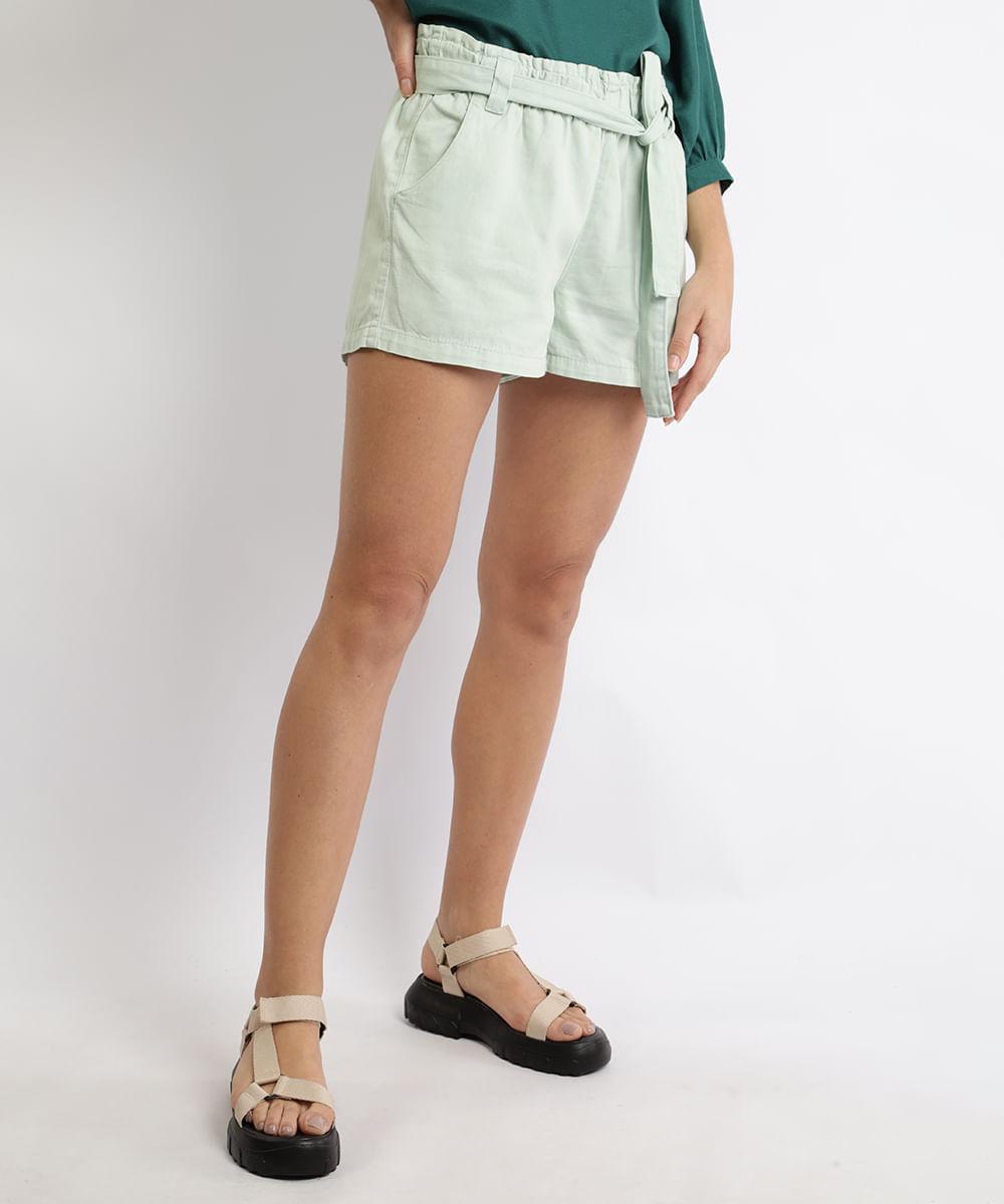 CeA Short De Sarja Feminino Clochard Cintura Super Alta com Faixa para Amarrar Verde Claro