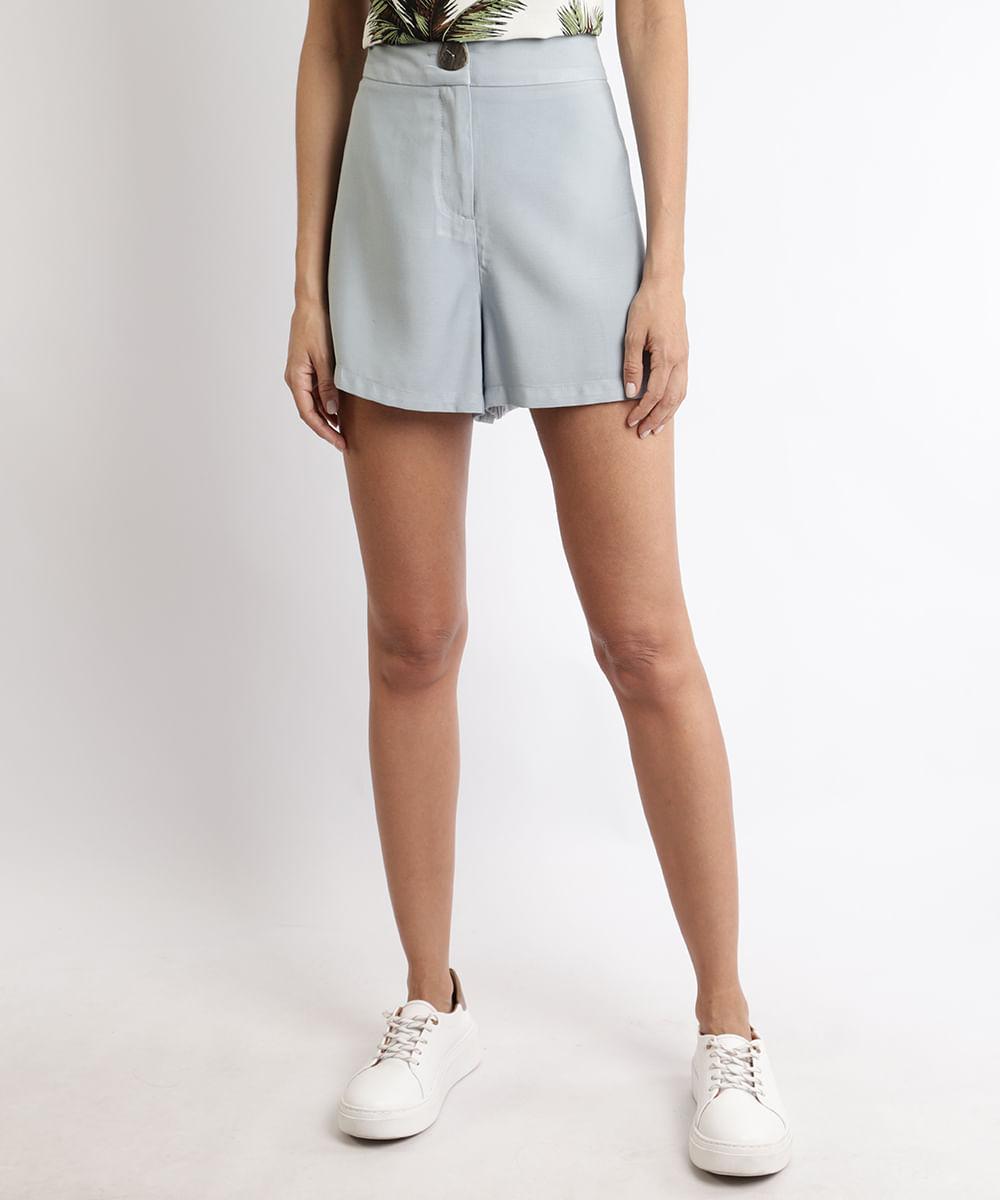 CeA Short Feminino Cintura Alta com Botão e Bolsos Azul Claro