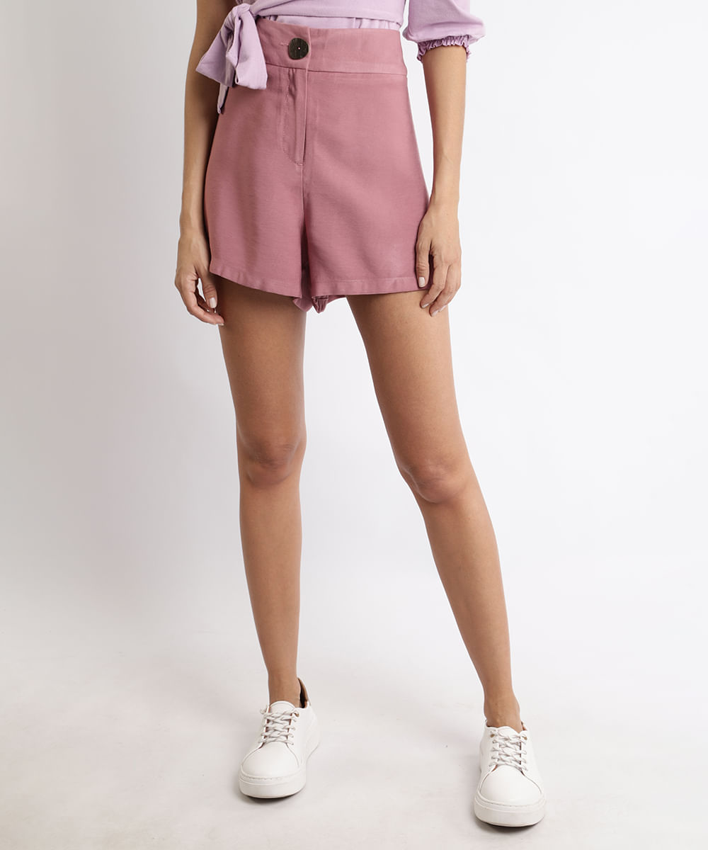 CeA Short Feminino Cintura Alta com Botão e Bolsos Rosa